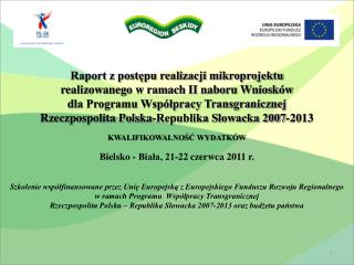 Raport z postępu realizacji mikroprojektu  realizowanego w  ramach II naboru Wniosków