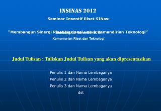 INSINAS 2012 Seminar Insentif Riset SINas: