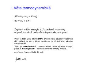 I. Věta termodynamická