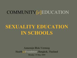 COMMUNITY [ e ] EDUCATION