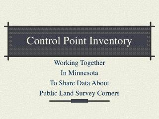 Control Point Inventory