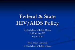 Federal & State HIV/AIDS Policy