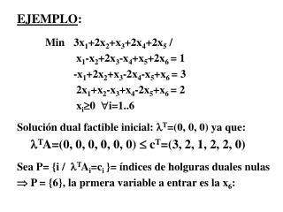 EJEMPLO : Min 3x 1 +2x 2 +x 3 +2x 4 +2x 5  /  x 1 -x 2 +2x 3 -x 4 +x 5 +2x 6  = 1