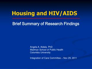 Housing and HIV/AIDS