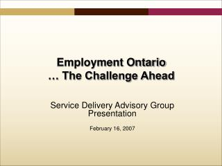 Service Delivery Advisory Group Presentation February 16, 2007