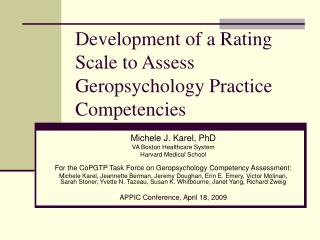Development of a Rating Scale to Assess Geropsychology Practice Competencies