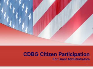 CDBG Citizen Participation For Grant Administrators