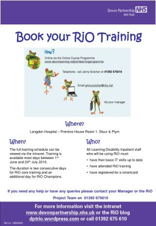 Book your RiO Training