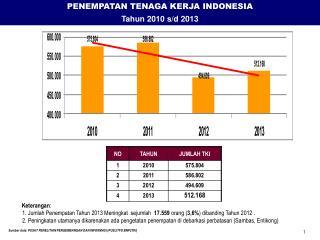 PENEMPATAN TENAGA KERJA INDONESIA Tahun  20 10  s/d 201 3