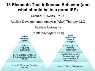 13 Elements That Influence Behavior (and what should be in a good IEP) Michael J. Weiss, Ph.D.