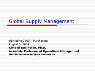 Global Supply Management