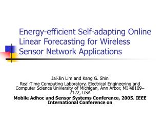 Energy-efficient Self-adapting Online Linear Forecasting for Wireless Sensor Network Applications