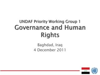 UNDAF Priority Working Group 1 Governance and Human Rights