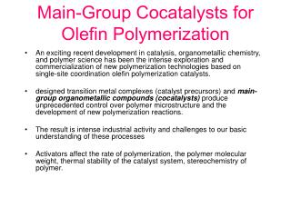 Main-Group Cocatalysts for Olefin Polymerization