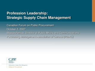 Profession Leadership: Strategic Supply Chain Management