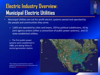 Electric Industry Overview: Municipal Electric Utilities