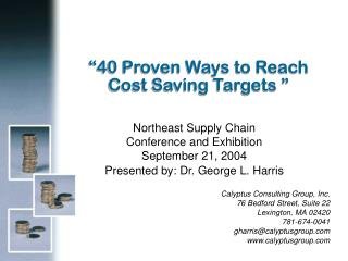 """40 Proven Ways to Reach Cost Saving Targets """