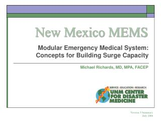 Modular Emergency Medical System: Concepts for Building Surge Capacity