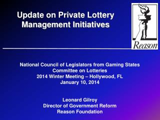 National Council of Legislators from Gaming States Committee on Lotteries