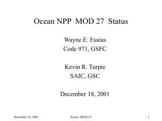 Ocean NPP  MOD 27  Status