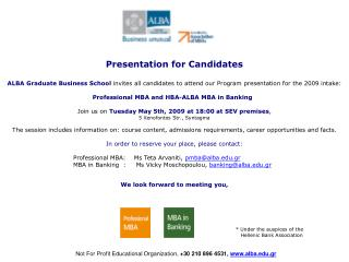 Presentation for Candidates