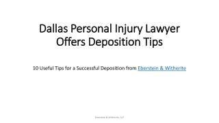 10 useful tips for a successful deposition from   Eberstein