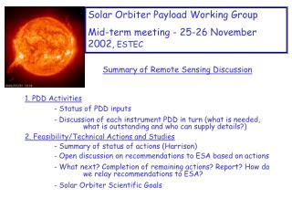 Solar Orbiter Payload Working Group  Mid-term meeting - 25-26 November 2002,  ESTEC