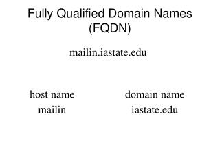 Fully Qualified Domain Names (FQDN)