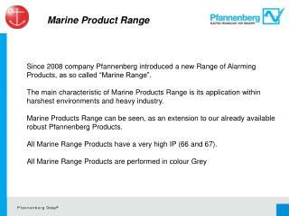 Marine  Product Range