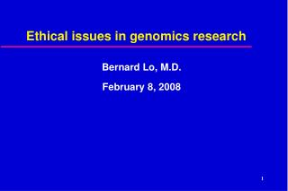 Ethical issues in genomics research