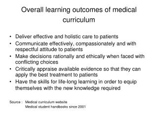 Overall learning outcomes of medical curriculum