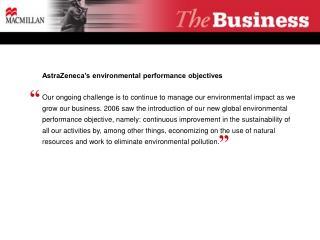 AstraZeneca's environmental performance objectives