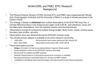 NOAA ESRL and PMEL EPIC Research Background