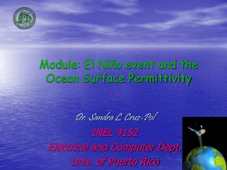 Module: El Niño event and the Ocean Surface Permittivity