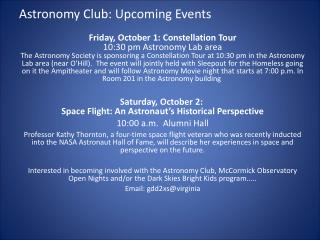 Astronomy Club: Upcoming Events