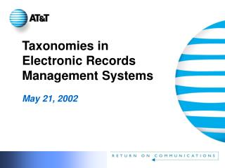 Taxonomies in Electronic Records Management Systems