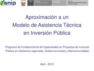Aproximación a un Modelo de Asistencia Técnica en Inversión Pública