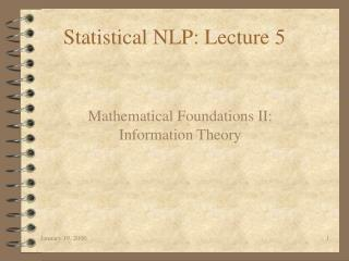 Statistical NLP: Lecture 5