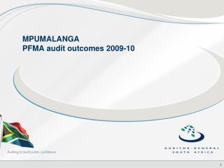 MPUMALANGA  PFMA audit outcomes 2009-10
