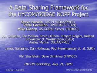 A Data Sharing Framework  for the HYCOM/GODAE NOPP Project