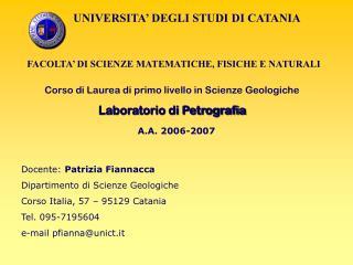 UNIVERSITA  DEGLI STUDI DI CATANIA   FACOLTA  DI SCIENZE MATEMATICHE, FISICHE E NATURALI