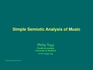 Simple Semiotic Analysis of Music