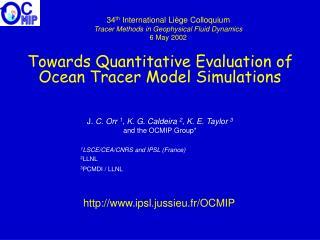 Towards Quantitative Evaluation of  Ocean  Tracer  Model  Simulations