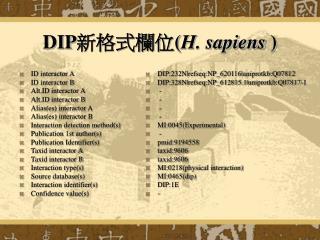 DIP 新格式欄位 ( H. sapiens  )