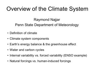 Overview of the Climate System