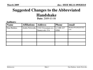 Suggested Changes to the Abbreviated Handshake