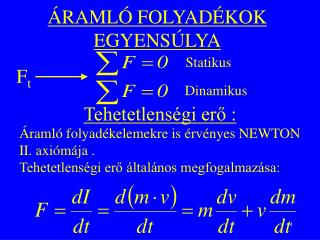 ÁRAMLÓ FOLYADÉKOK EGYENSÚLYA