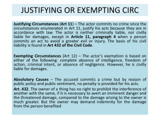 JUSTIFYING OR EXEMPTING CIRC