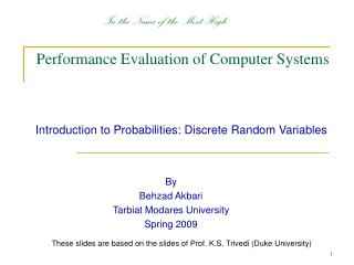 Performance Evaluation of Computer Systems