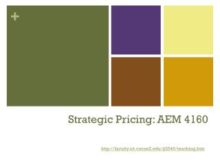 Strategic Pricing: AEM 4160